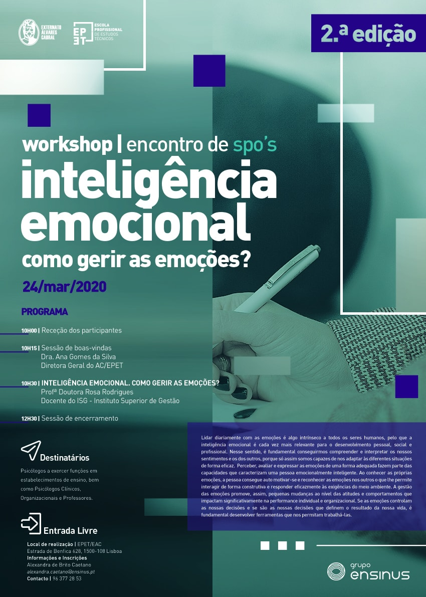 WORKSHOP INTELIGÊNCIA EMOCIONAL. COMO GERIR AS EMOÇÕES?