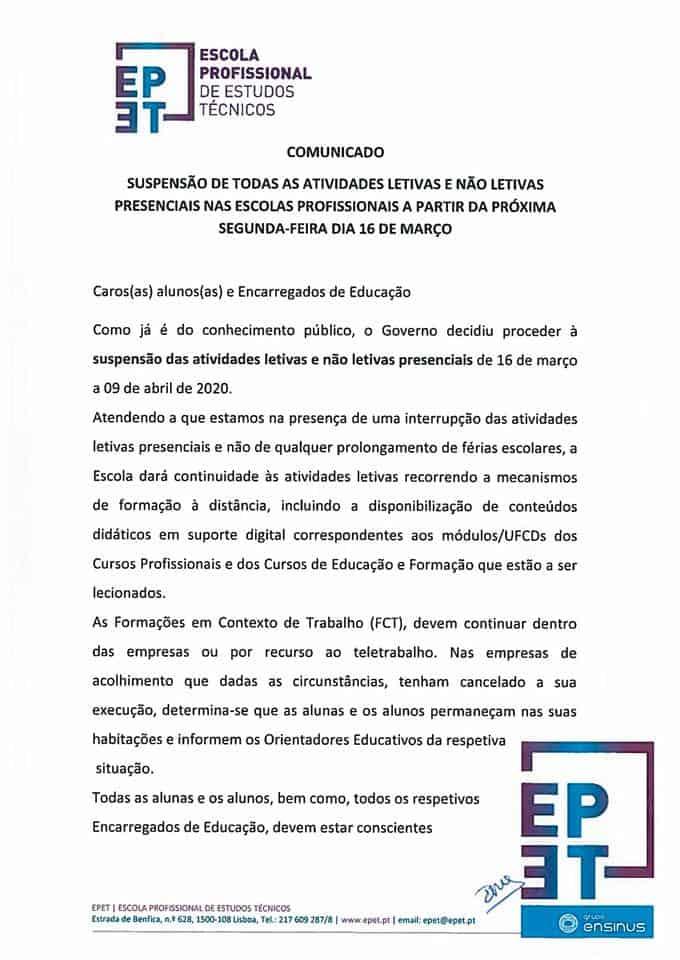 Comunicado EPET – 13.03.2020