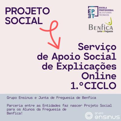 Projeto Social une Escolas do Grupo Ensinus e a Junta de Freguesia de Benfica Parceria entre as Entidades faz nascer Projeto Social para os Alunos da Freguesia de Benfica!